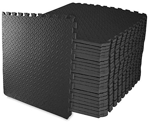 BalanceFrom Puzzle Exercise Mat with EVA Foam Interlocking Tiles (Black), 3/4' Thick, 96 Square Feet...