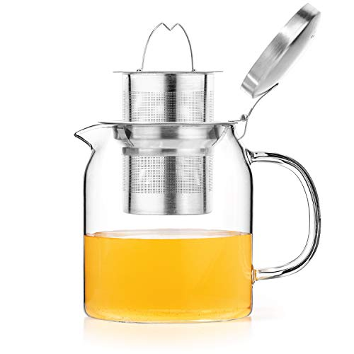 Tealyra - 20-ounce PYXIS GLASS TEAPOT - Stove-Top Safe - Small Borosilicate Glass Pot - Kettle - w/Removable Stainless-Steel Infuser - Best For Loose Leaf or Blooming Tea - 600ml - Makes 2-3 cups