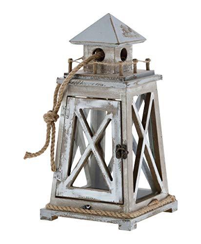 itsisa Laterne Maritim im Shabby Look - Windlicht, Kerzenleuchte, Teelichthalter