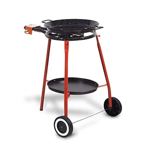 Kitchen Move - Juego de rejilla para plancha completa Malaga: hornillo 40 cm + plato esmaltado 46 cm + trípode reforzado con ruedas