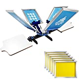 VEVOR Screen Printing 4 Color 2 Station Screen Printing Machine and 6 Pieces 20x24Inch Aluminum Screen Frame with Yellow 305 Count Mesh