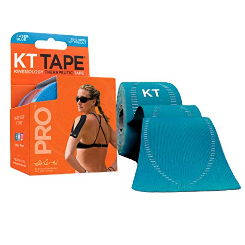 "KT Tape Pro Synthetic Kinesiology Therapeutic Sports Tape, 20 Precut, 10"" Strips, Laser Blue"