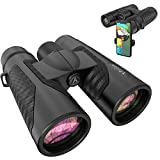 12x42 Binoculars for Adults with New Smartphone Photograph Adapter - 18mm Large View Eyepiece - 16.5mm Super Bright BAK4 Prism FMC Lens - Binoculars for Birds Watching Hunting - Waterproof (1.25 lbs)