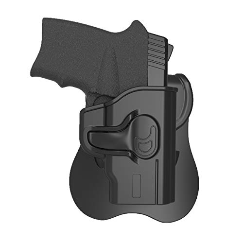 S&W M&P Bodyguard 380 Holster OWB, Outside the Waistband Concealed Carry Holsters Fit Bodyguard .380 with Integrated Crimson Trace Laser, Polymer Belt Holster with 360° Adjustable Paddle, Right Handed