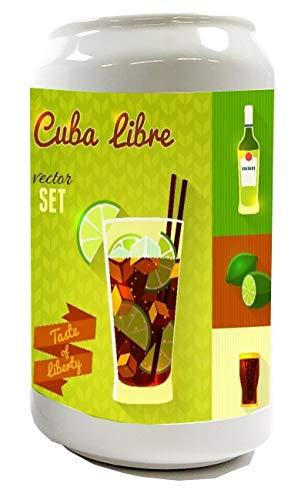 Spardose Sparbüchse Geld-Dose Wiederverschließbar Farbe Weiß Bar Party Cuba Libre Keramik Bedruckt