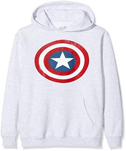 Marvel Jungen Avengers Captain America Distressed Shield Kapuzenpullover, Grau (Sports Grey SpGry), 7-8 Jahre (Herstellergröße: 7-8Y)