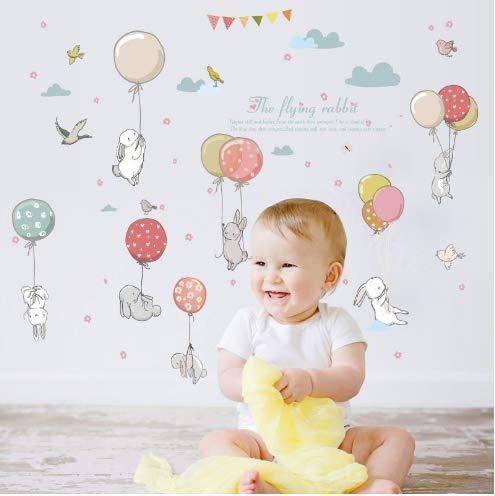 Cartoon diy super cute balloon rabbit wall sticker for kids room birds cloud decor furniture wardrobe bedroom living room decal 105 * 72cm