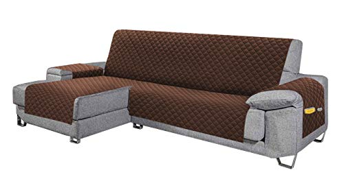 Cabetex Home - Cubre sofá - Chaise Longue - Reversible con ajustes y Bolsillos - Microfibra Acolchada Antimanchas (Chocolate)