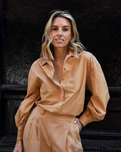 The Drop Women's Tan Drop-Shoulder Loose-Fit Volume-Sleeve Button Down Shirt by @lisadnyc