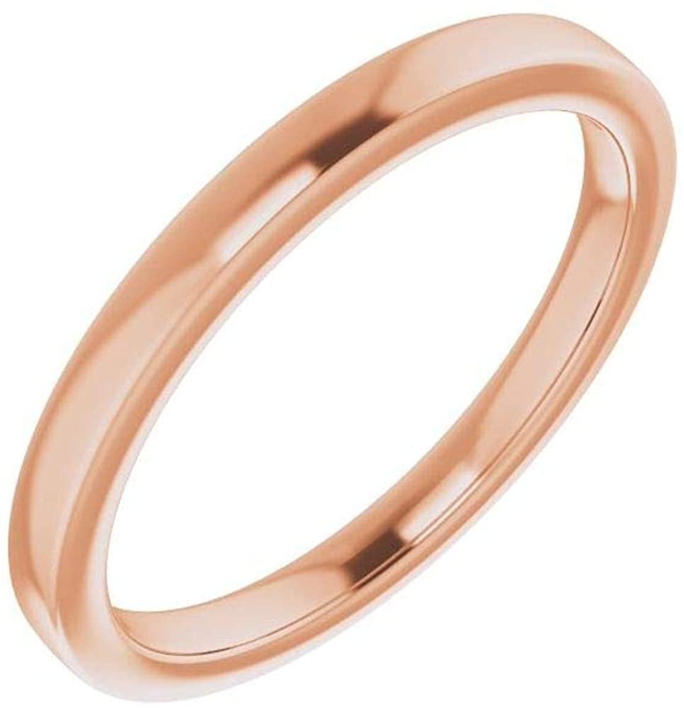 Solid 14K Rose Gold Curved Notched 8.8mm Wedding for Overseas parallel import regular item SEAL limited product Round Band