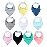 Baby Bandana Drool Bibs Color liso para babear y dentición, 100% algodón...