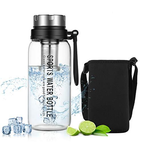 DUXING - Borraccia in vetro da 1 litro, riutilizzabile, con custodia in neoprene e infusore e tracolla per palestra, escursionismo, campeggio