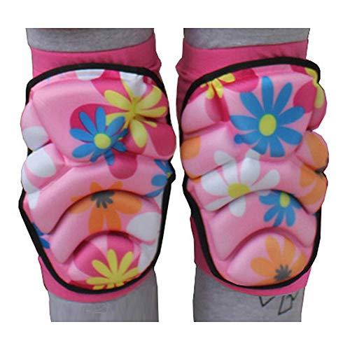 Yiwa Herren Damen Kinder Kinder Knieschoner Eiskunstlauf Ski Schutzausrüstung M Rosa Blumen