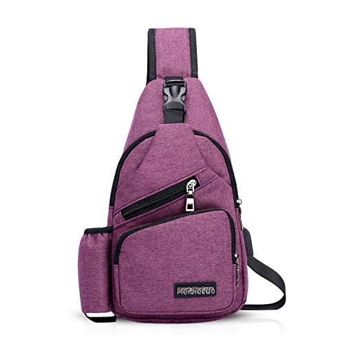 FANDARE Herren Schultertasche Damen Brusttasche Sling Bag Rucksack mit USB Umhängetasche Crossbody Bag Sporttasche für Wandern,Abenteuer,Sport, Reisen,Joggen Wasserdicht Polyester Lila