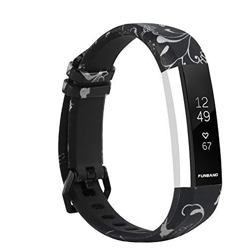 FunBand Cinturino Compatibile per Fitbit Alta/Alta HR, Impermeabile Resistente Modello Stampato Cinghie colorato Silicone Cinturino da Polso Fascia per Fitbit Alta/Alta HR