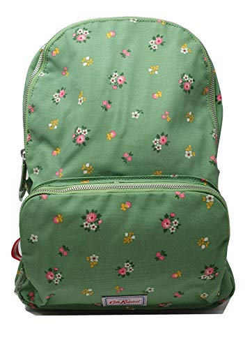 Cath Kidston Multi Pocket Backpack Rucksack Bath Flowers in Green Oilcloth