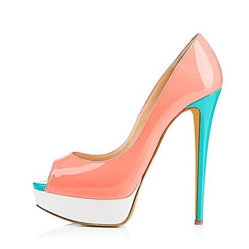 Exing Femmes Chaussures Européennes et Américaines Dames Grande Taille à Talons Élevés Plate-Forme Étanche Fish Mouth Chaussures en Cuir Verni (Color : 6, Taille : 41)
