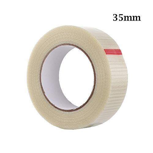ZXF 50Meter Heavy Duty Verpackung einseitiges Klebeband Extra Strong Grid Glasfaserverstärkte Filament Band 10/12/15/18/20/25/30 / 35mm (Color : 35mm)
