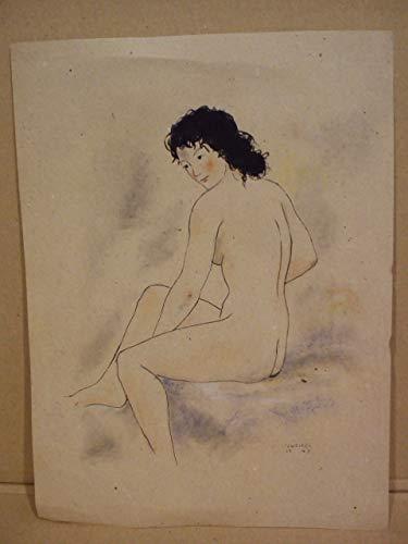 Dibujo original a tinta negra representando un bello desnudo de mujer sentada de tres cuartos por la espalda