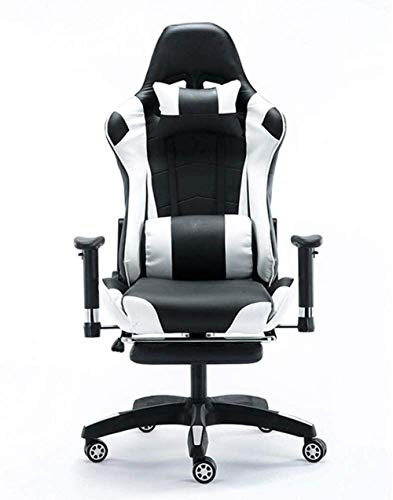 Silla para juegos MHIBAX Silla para deportes electrónicos, silla para juegos Reposapiés retráctil Silla de oficina con respaldo alto Jugar a ver videos Sillón