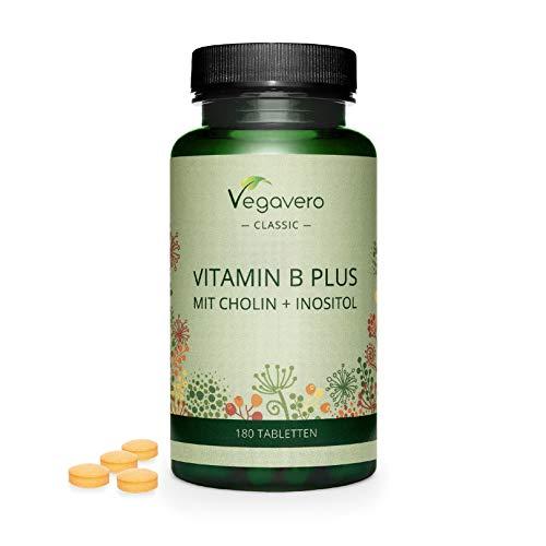 Vitamina B Complex Vegavero® | Sin Aditivos Artificiales | Con Colina e Inositol | B2 + B5 + Niacina + Piridoxina + Ácido Fólico + B12 | Vitaminas Para el Cansancio* | 180 Comprimidos