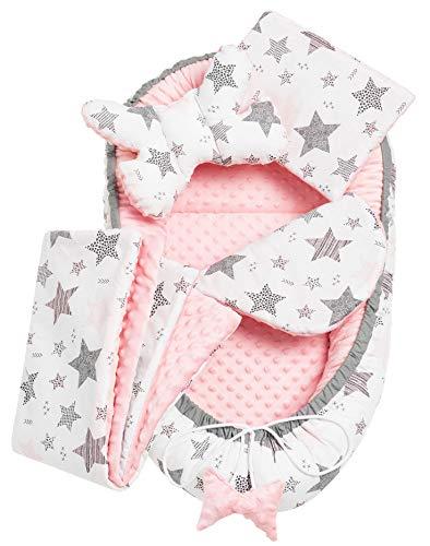 Solvera_Ltd 5 piezas, juego de cuna nido de felpa MINKY, con nido para bebé, 90 x 50 cm, extraíble, cojín plano, cojín para gatear, con almohada para bebé, 100% algodón (rosa bebé)