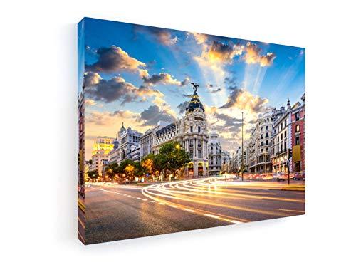 weewado Sean Pavone - Madrid, España 60x45 cm Prima Impresiones sobre Lienzo - Muro de Arte - City Trip & Trav