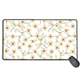 Large Mouse Pad XL,Pressed Yellow Wildflowers Design Extended Gaming Mouse Pad Mat Desk Pad Non-Slip Rubber Mousepad with Stitched Edges 40x75 cm
