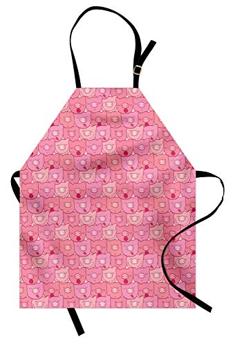Lunarable Pig Apron, Funny Snouts of Pigs with Different Emotions and Happy Animal Faces Tile Pattern, Unisex Kitchen Bib with Adjustable Neck for Cooking Gardening, Adult Size, Pale Pink