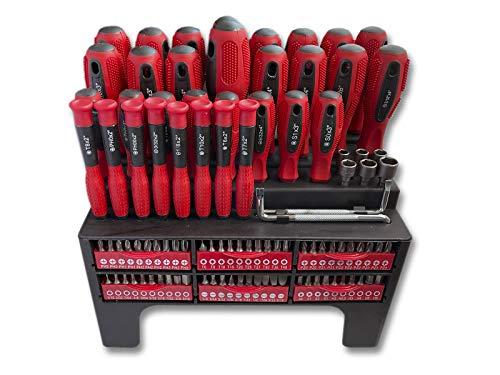 100 pc Juego de Destornilladores magnéticos profesionales con soporte organizador. Conjunto puntas destornillador de precisión. Kit de herramienta profesional para bricolaje y para su taller.