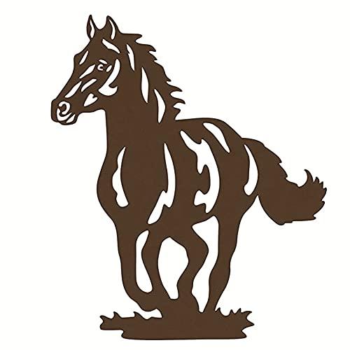 HQL Metallpferd-Wand-Kunst-Dekor, Metallpferd-Silhouette-Dekor, rustikale Westernpferd-Wandbehang, für Wohnzimmer Schlafzimmer Bauernhaus,B