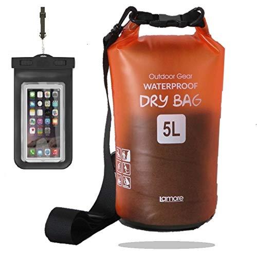 半透明 防水バッグ ドライバッグ 軽量素材 5L 10L 20L [スマホ 用 防水ケース セット] プールバッグ ビーチバッグ ドラム型 アウトドア プール dry bag 笑顔一番 [A323] 10L, 5) オレンジ