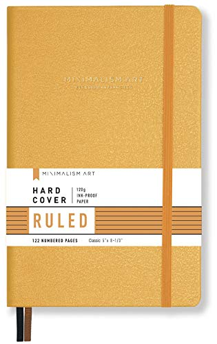Minimalism Art, Premium Hard Cover Notebook Journal, Small Size, Classic 5 x 8.3, 122NumberedPages, GussetedPocket, Ribbon Bookmark, Extra Thick Ink-ProofPaper120gsm (Ruled, Amber)