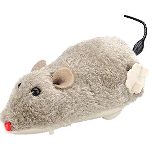 KaariFirefly Spielzeug für Katzen, zum Aufziehen, Plüsch, Maus, Tier, Uhrwerk, Laufen, Geschenk, zufällige Farbe