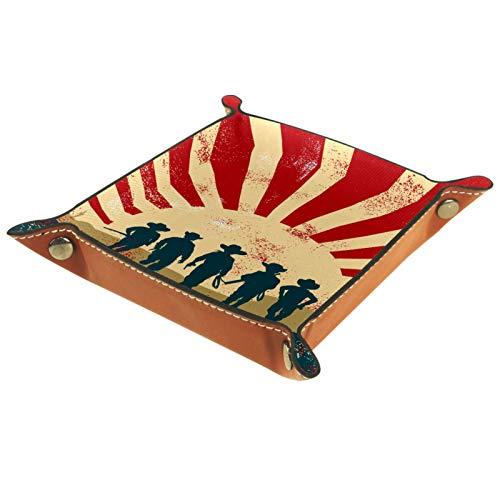 rodde Bandeja de Valet Cuero para Hombres - Falda de Mezclilla - Caja de Almacenamiento Escritorio o Aparador Organizador, Captura para Llaves,Teléfono,Billetera
