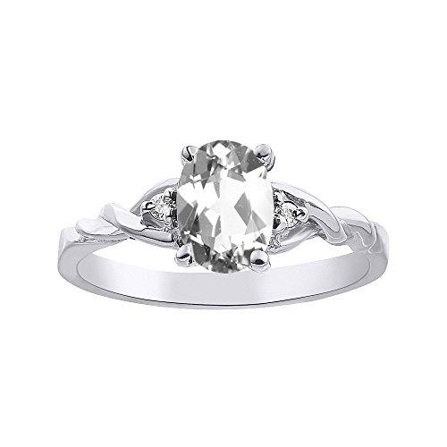 RYLOS Anillos para mujer de oro blanco de 14 quilates, diamante y topacio blanco, anillo solitario de 7 x 5 mm, piedra de color de piedra preciosa, joyería para mujeres anillos de oro
