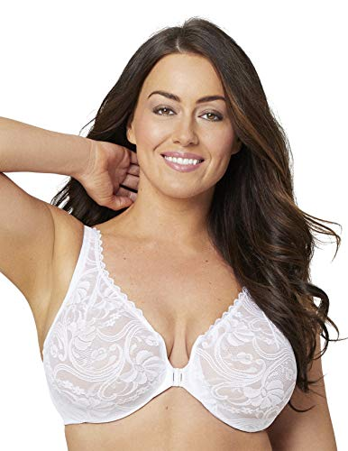 Full Figure Wonderwire Front Close Stretch Lace Bra #9245 White
