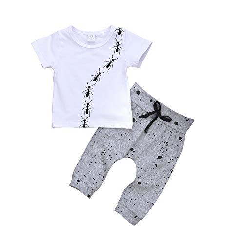 Gyratedream Ensemble de Vêtements Été Garçon T-Shirt à Manches Courtes + Pantalon Décontracté Ant Imprimé 2Pcs Outfit pour 0-24 Mois Bébé