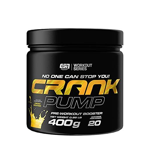 ESN Crank Pump, 400g, Fresh Orange, Pre Workout Booster, Ohne Koffein