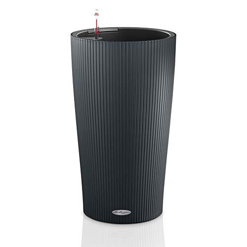 Preisvergleich Produktbild LECHUZA CILINDRO Color 32 hochwertiges Pflanzgefäß mit Erd-Bewässerungs-System,  schiefergrau,  32x32x56 cm