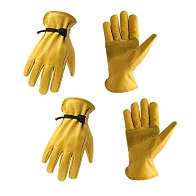 2 Pairs Cowhide Leather Work Gloves with Reinforced Palm for Men & Women, Adjustable Wrist Rigger Glove for Driver, Construction, Yardwork, Gardening (L, Yellow)