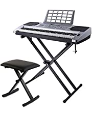 Keyboard Stand and Bench Set -Double X, Infinitely Adjustable, Heavy Steel Construction and Pure Locking System Support Stand, for Keyboard and Digital Piano-Black,regularversion
