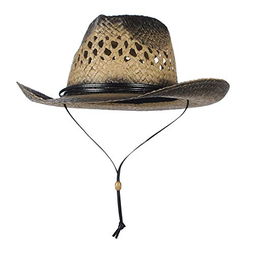 GEMVIE Sombrero Hombre para Verano Paja Fedora Cowboy Gorro Playa ala Ancha Vaquero Sombreros -Unisex Adulto/Anti-UV/Viaje (kakki)