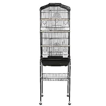 MUPAI Cage Oiseaux Volière Portable avec 4 roulettes Pivotantes de 360° Support Détachable pour Perruche Calopsitte Canari Inséparable (Noir)