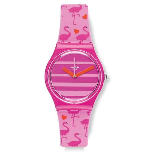 Swatch Women's 34 mm Pink Silicona Plastic Quartz Watch GP144 Glass Case