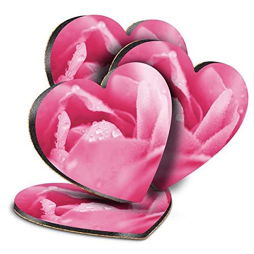 Destination Vinyl ltd Great Posavasos (juego de 4) corazón – rosa flor macro jardín bebida brillante posavasos / protección de mesa para cualquier tipo de mesa #24018