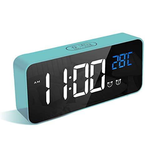 LATEC Reloj Despertador Digital, LED Pantalla Reloj Alarma Inteligente con Temperatura, Puerto de Carga USB, 12/24 Horas, 4 Brillo Ajustable, Función Snooze y Alarma de Espejo Portátil (Azul)