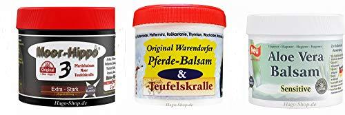 Hago Premium TESTPAKET Warendorfer Pferdebalsam mit Teufelskralle + Moor Hippo 3 + Aloe Vera Balsam - 3 Premium Produkte von Hago für die höchsten Ansprüche.