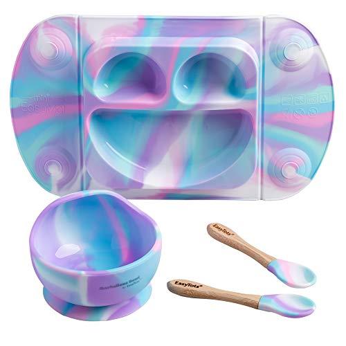 EasyTots - Set per lo svezzamento EasyMat, mini piastra a ventosa, ciotola per lo svezzamento e posate set di cucchiai in bambù
