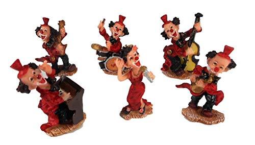 6er Set Mini Clown Musik Blume Karneval je 8 x 5 cm Harlekin Zirkus Figur Deko GTT C62